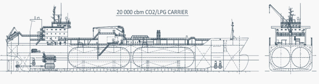 ship schematic CO<sub>2</sub> gas carrier